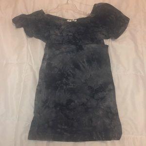 Strapless black tie-dye mini dress